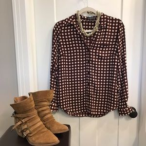 The Limited Burgundy Plaid Blouse